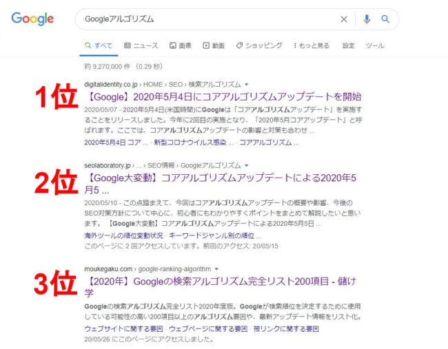 google 検索 アルゴリズム